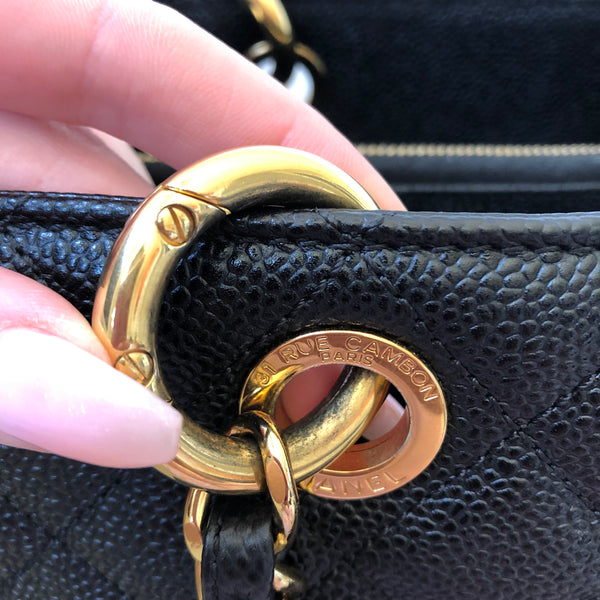 Chanel Black Caviar GST with Gold Hardware