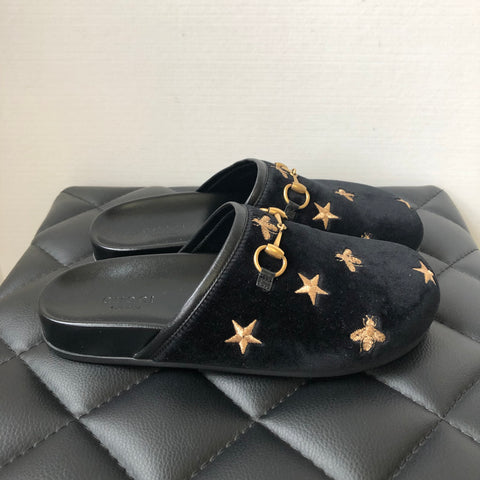 Gucci Black Velvet New River Bee Slides Size 35.5