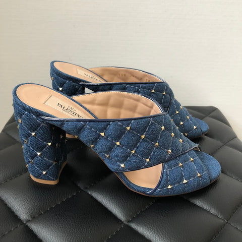 Valentino Denim Mini Rockstud Sandals Size 38