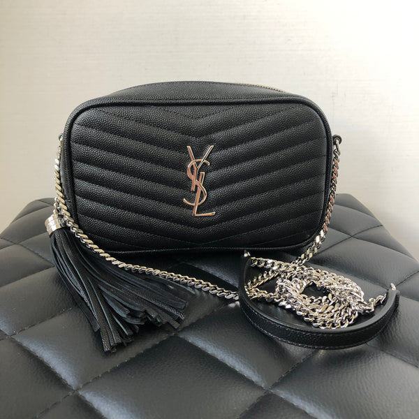 SAINT LAURENT Black Mini Lou YSL Monogram Grained Leather Crossbody Bag