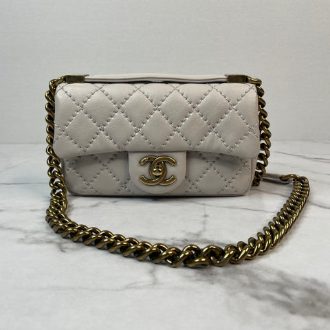 Chanel Light Grey Quilted Calfskin Urban Day Mini Flap Bag