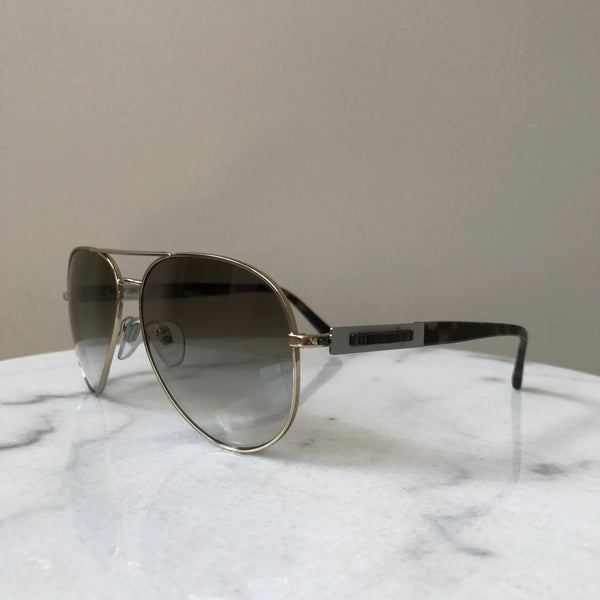 Bvlgari Gold Havana / Olive Brown Gradient Aviator Sunglasses