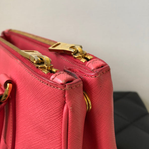 Prada Pink Mini Double Zip Saffiano Crossbody Bag