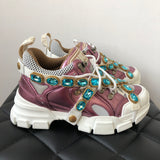 Gucci White/Pink Journey Flashtrek Sneakers with removable blue crystals  Size 36