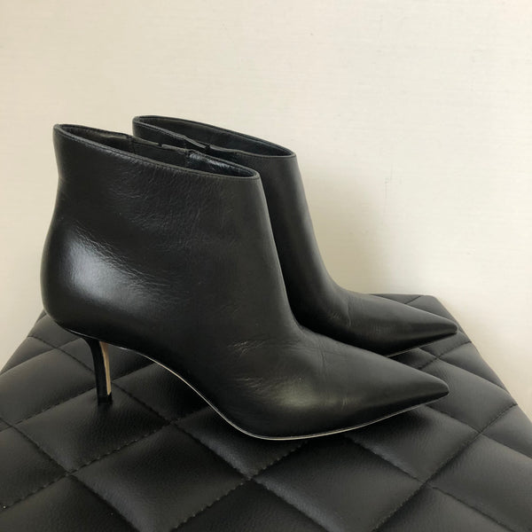 Jimmy Choo Black Smooth Leather Marinda 65 Ankle Boots Size 36
