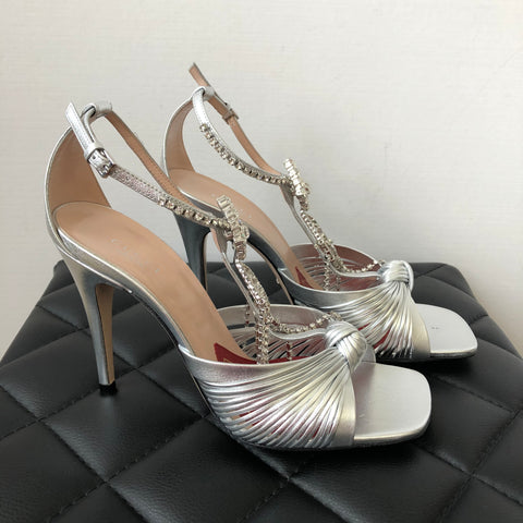 Gucci Silver Crystal Sandals Size 38.5