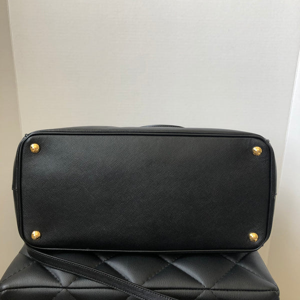 Prada Saffiano Lux Black Double Zip Large Crossbody/Shoulder Bag