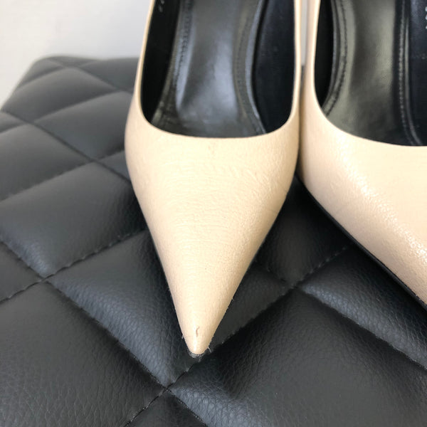 Balenciaga Beige Square Knife leather pumps Size 36.5