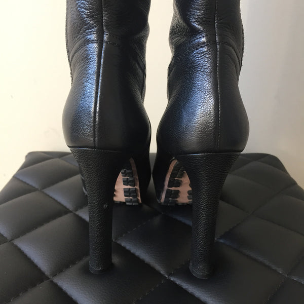 Gucci Black Leather Zip Boots Size 35