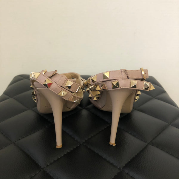 Valentino Poudre (Pink/Nude) Patent Rockstud Pumps Size 37
