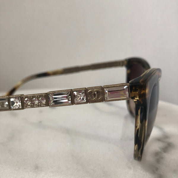 Chanel Bijou Crystal Tortoise/Gold Sunglasses