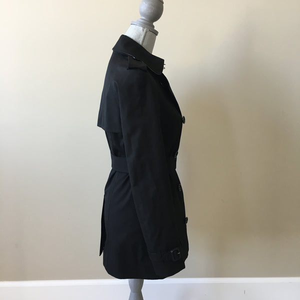"Burberry Black ""The Kensington"" Short Trench Coat Size US 2"