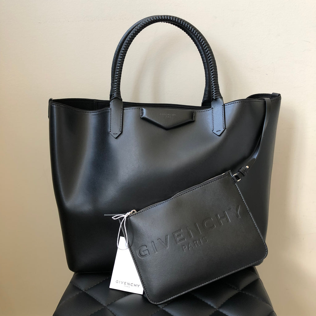 3a68346dbb Givenchy Black Antigona Calfskin Shopping Tote with Pouch | Forever Red  Soles