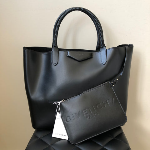 Givenchy Black Antigona Calfskin Shopping Tote with Pouch