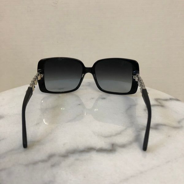 Chanel Black/Silver Leather Chain Sunglasses