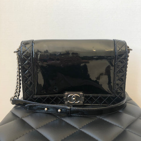 Chanel Black Patent New Medium Boy Bag