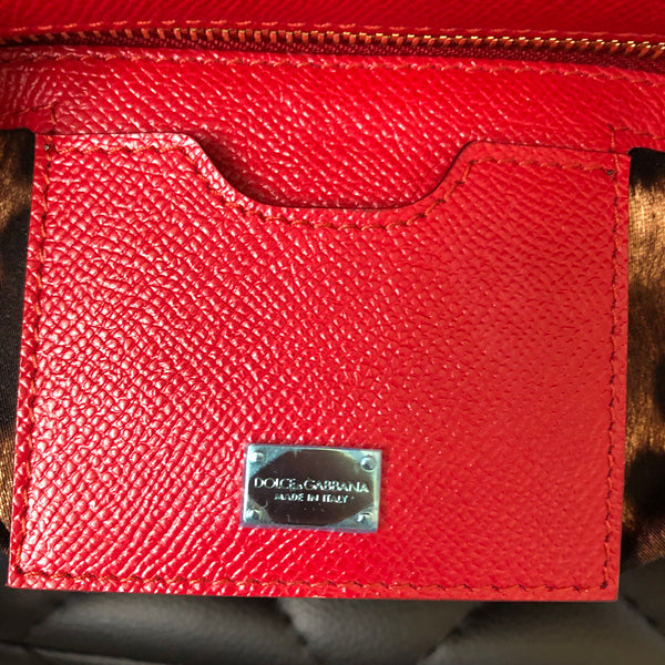 Dolce and Gabbana Red Medium Top Handle Sicily Crossbody Bag