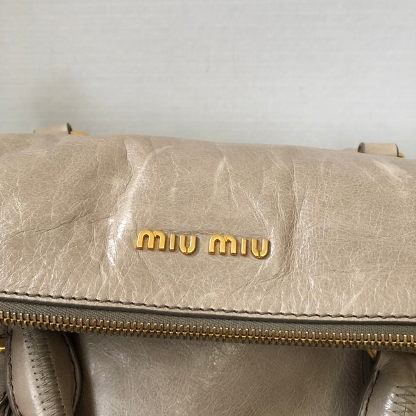 MIU MIU Vitello Lux Medium Bow Crossbody Bag in Pomice