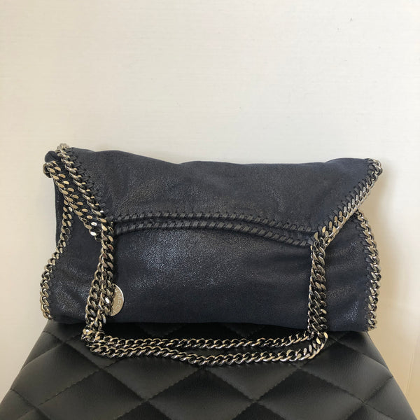 Stella McCartney Medium Dark Navy Falabella Shaggy Deer Fold Over Tote