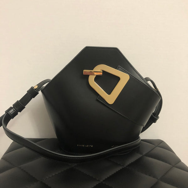 DANSE LENTE Black Johnny Mini Leather Bucket Crossbody Bag