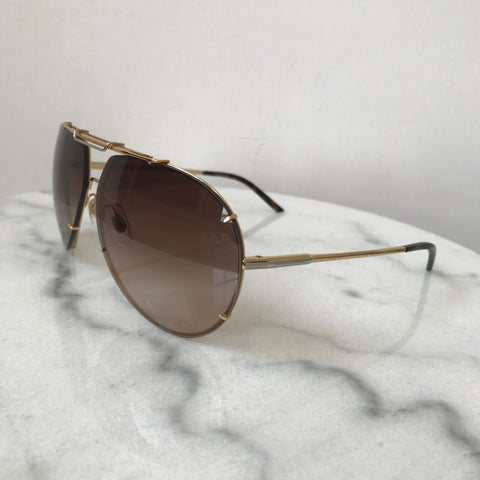 Dolce & Gabbana Unisex Gold/Brown Gradient Aviator Sunglasses