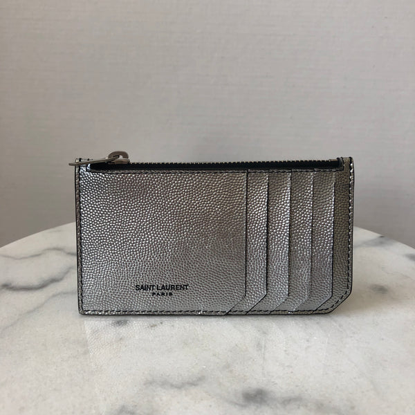 Saint Laurent Iridescent Nickel Grained Card Holder