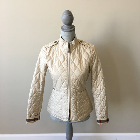 Burberry Brit Beige Quilted Jacket Size XS (fits US 0)