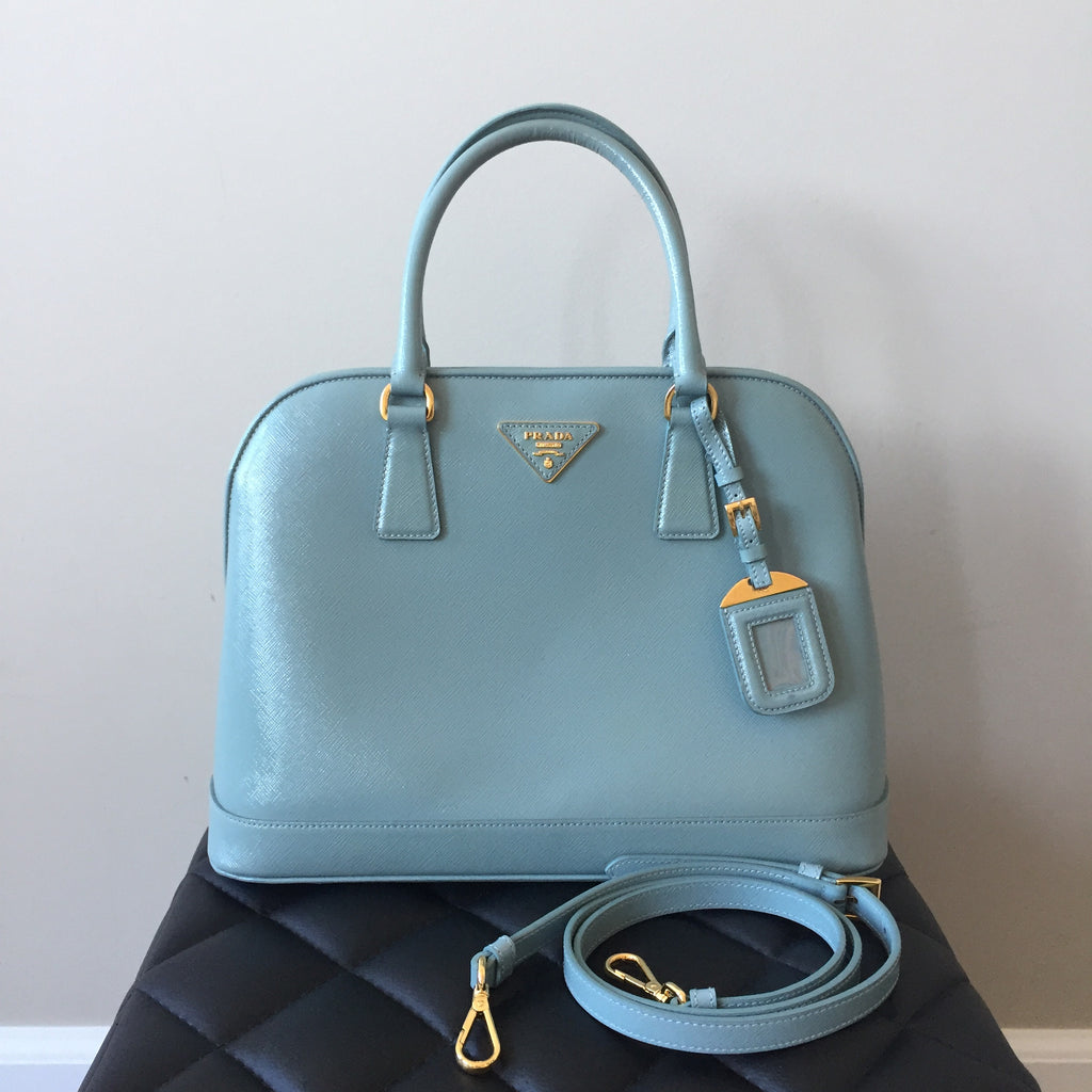 24fad4471f ... clearance prada saffiano vernice shoulder crossbody bag in lago light  blue 3d3a8 e79ec