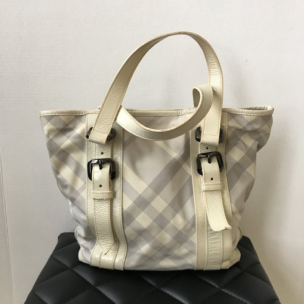 Burberry Ivory Check Nylon/Patent Shoulder Bag
