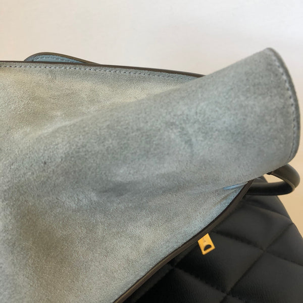 "Celine ""Sky"" Medium Trapeze Tricolor (Black/Sky Blue/Burgundy) Calfskin and Suede Shoulder Bag"