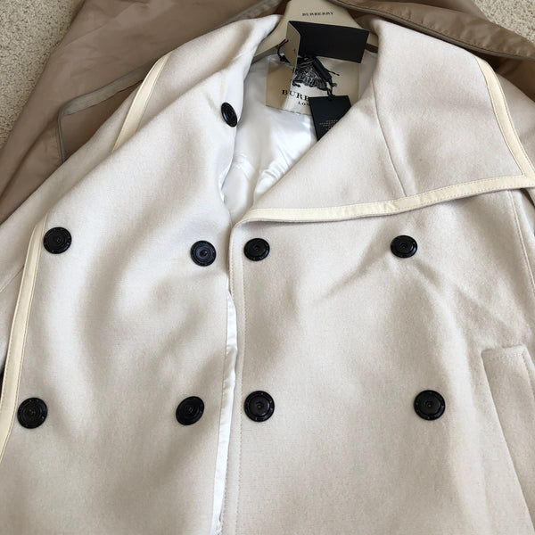 Burberry London Natural White Virgin Wool Wrap Blakewater Coat Size US 2