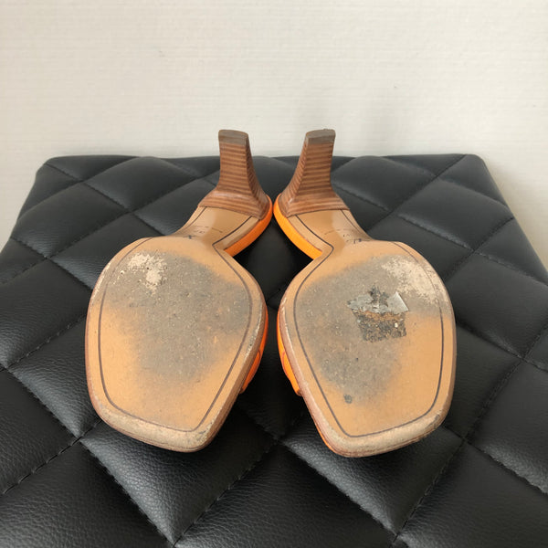 Louis Vuitton Mandarine Orange Open Toe Cubes Epi Mules Size 37