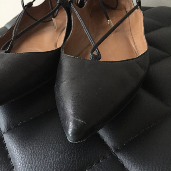 Aquazzura Christy black leather point-toe flats Size 39.5