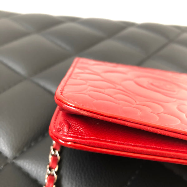 CHANEL Red Patent Camellia Embossed Wallet On Chain WOC