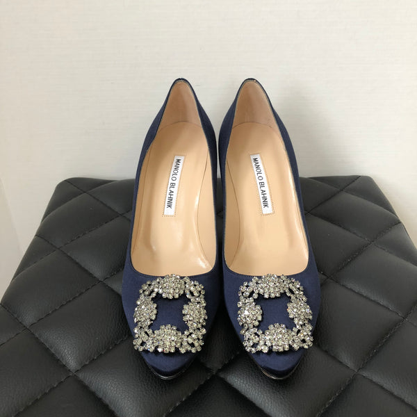 Manolo Blahnik Navy Blue Satin Hangisi 70 Pumps Size 36.5