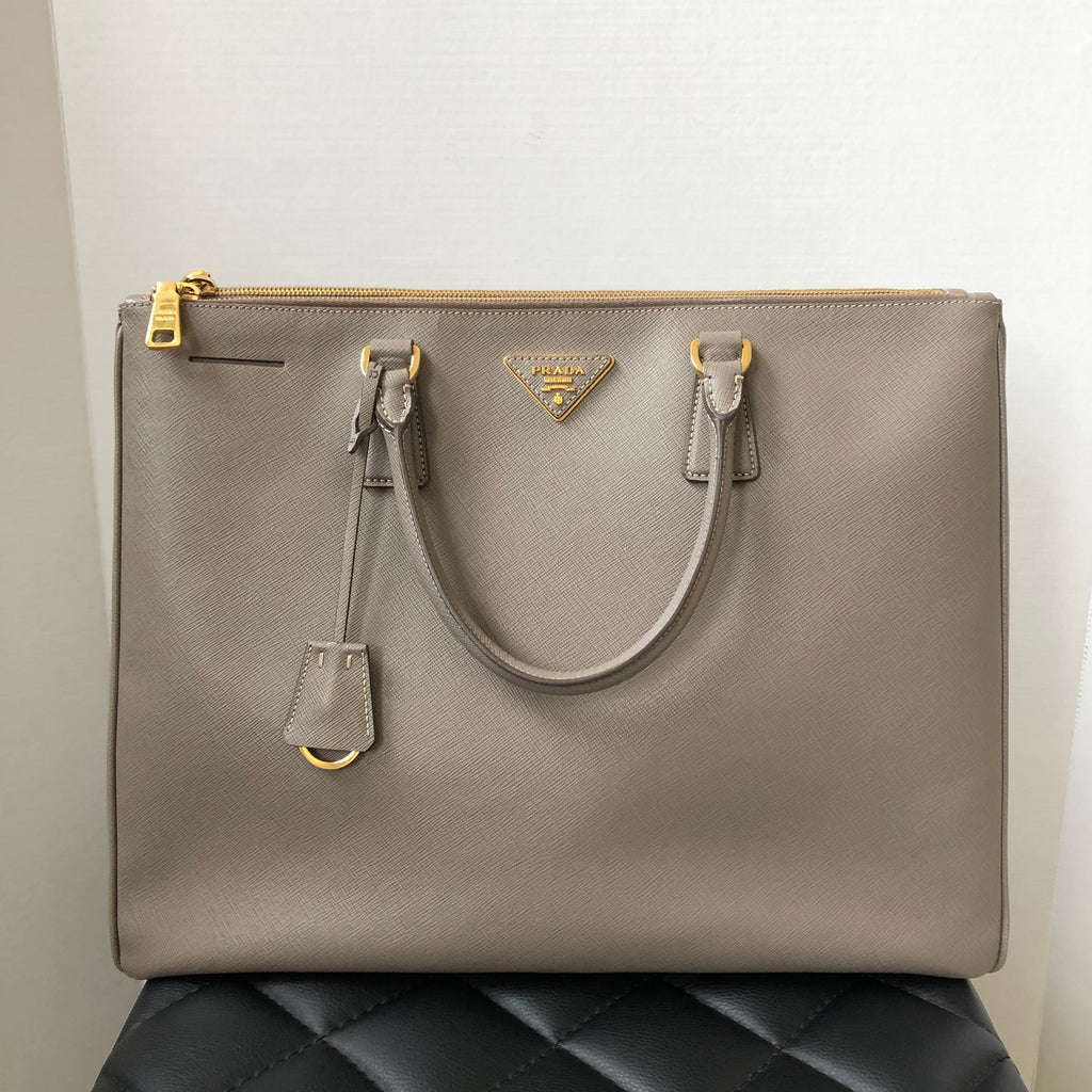 6db88b1cb2a985 Prada Saffiano Lux Argilla Grey Double Zip Large Executive Tote | Forever  Red Soles