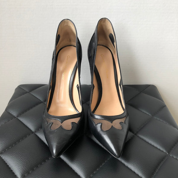Gianvito Rossi Black Cut Out Mesh Pumps Size 38.5