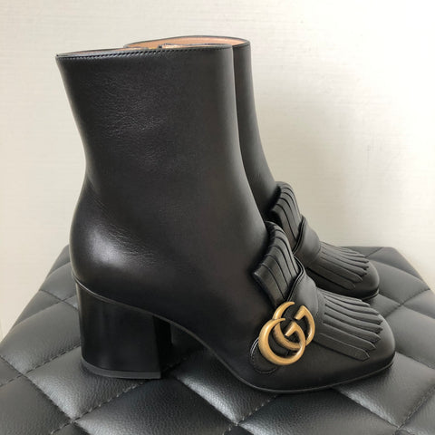 GUCCI Black Marmont fringed logo-embellished leather ankle boots Size 35