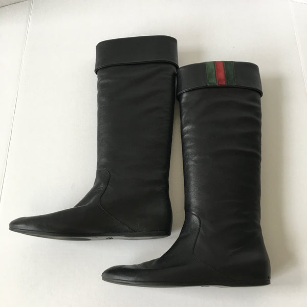 Gucci Black Leather Boots Size 38.5