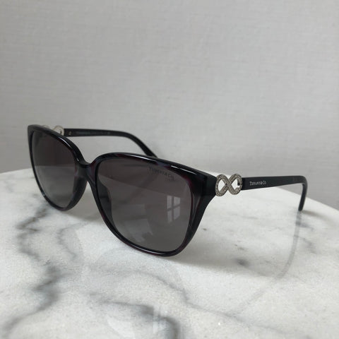 Tiffany Shell Red/Burgundy Crystal Sunglasses