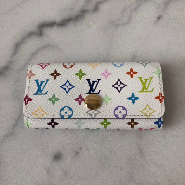 Louis Vuitton White Multicolor Monogram 4 Key Holder