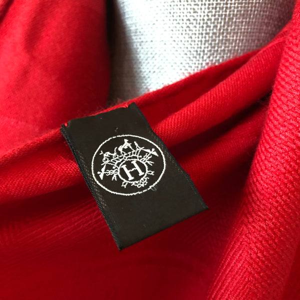"Hermes ""New Libris"" Stole/Scarf in Rouge Vif Cashmere and Silk"