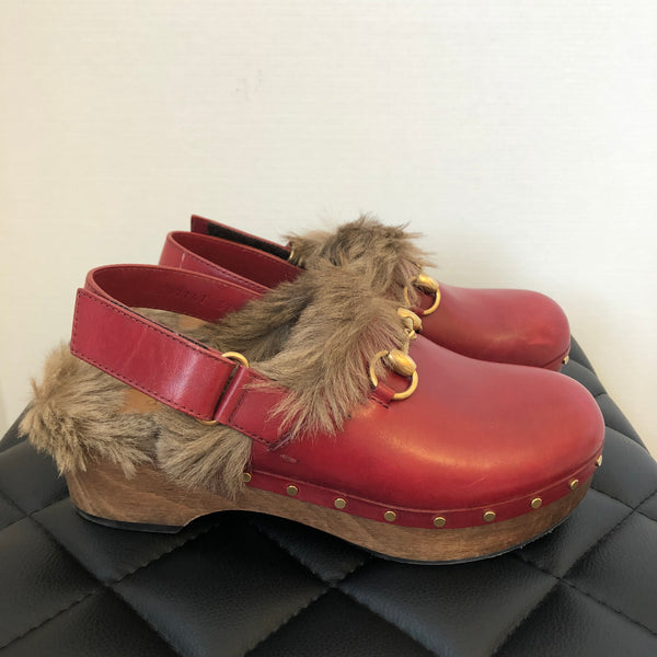 Gucci Red Fur Clogs Size 37.5