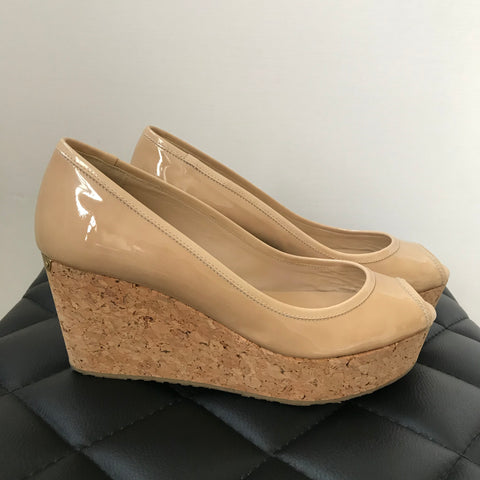 0e9b4009003 Jimmy Choo Nude Patent Wedges Size 36