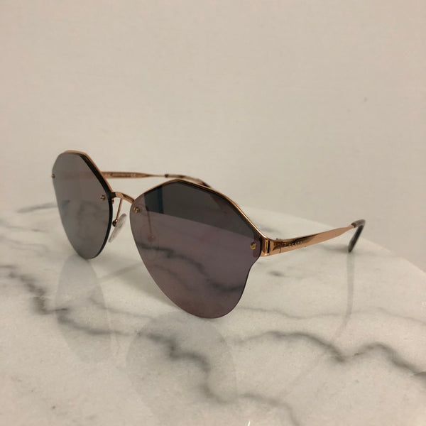 Prada CINÉMA EVOLUTION Rose Gold/Pink Mirror Sunglasses