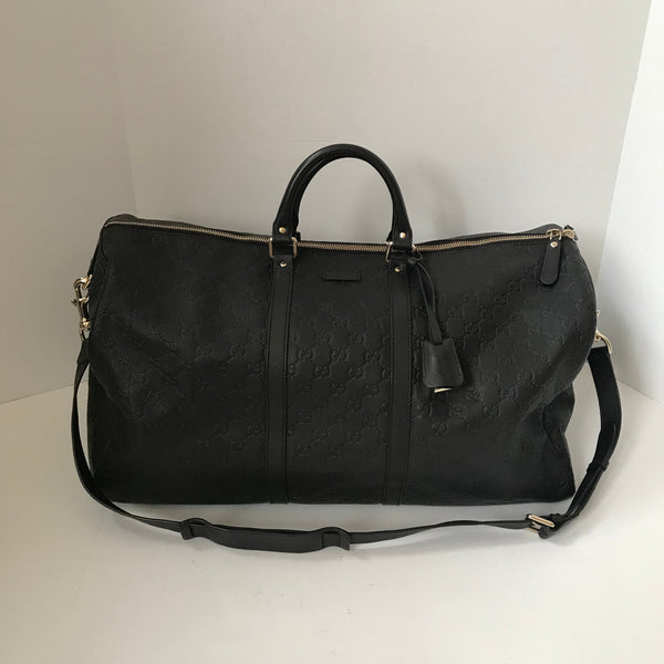 Gucci Black Leather Large Duffle Bag