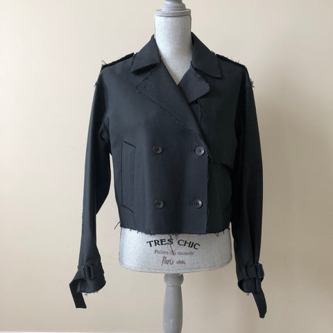 Rag & Bone Black Marshall Cropped Trench Jacket Size Small