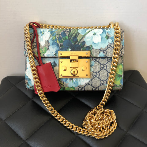 GUCCI Limited Edition GG Supreme Blooms Small Padlock Shoulder Bag