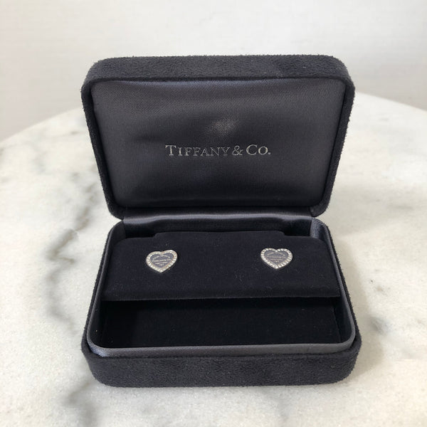Tiffany 18K White Gold/Diamond Mini Return to Tiffany Heart Stud Earrings