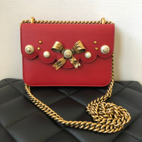 Gucci Red Bow Pearl Leather Chain Crossbody/Shoulder Bag
